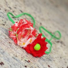 Roses are Red - Red and Green Headband, Shabby Chic Flower, Hair Piece, Red Hair Accessory, Neon Green Headband, Holiday Accessory by OanaChicBoutique on Etsy https://www.etsy.com/listing/255803554/roses-are-red-red-and-green-headband