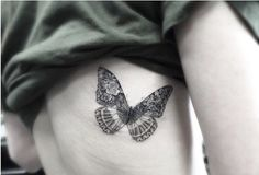 Black Butterfly with Roses on Side Tattoo