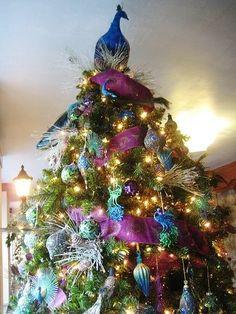 A gorgeous peacock Christmas tree