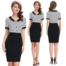 New 50s Vintage Style Bodycon Black Party Wiggle Button Pencil Dress ebe01a300d3