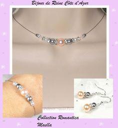 Parure mariage strass rose gris blanc 3 pièces , collier mariage perles et strass - Collection Romantica - Maella : Parure par bijoux-de-reine-cote-d-azur