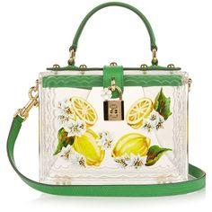 Dolce & Gabbana Lemon hand-painted Plexiglas box bag (49 075 UAH) ❤ liked on Polyvore featuring bags, acrylic bag, white bag, lucite bag, flower bag and transparent bag