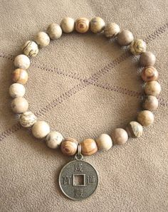 Mens Picture Jasper & Olive Wood Chinese Coin Bracelet by Merkaba Warrior