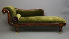 Regency Period Chaise Lounge restored and traditionally re-upholstered by Bouncing Hare Creations. #chaiselounge #antiques #antiquefurniture