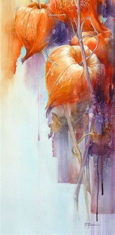 by Marie-Claire Moudru / physalis / fleurs / couleur Pintura Graffiti, Illustration Art, Illustrations, Chinese Lanterns, Botanical Art, Oeuvre D'art, Painting Inspiration, Watercolor Art, Watercolour Paintings
