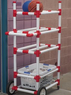 Outdoors toy organizer made from PVC pipe.