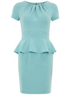 From my friend at LuxeFinds: Aqua gathered neck dress.    This is so gorgeous.   I already have a client in mind to show it to.