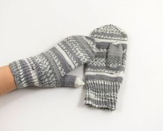 Knitted Mittens  Gray and White Size Medium by UnlimitedCraftworks