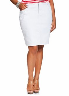 4ca348b6b10 Ashley Stewart Women s Plus Size Scatter Rhinestone Denim Skirt