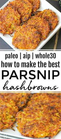 Parsnip Hashbrowns are the BEST. The exterior is a crunchy hashbrown dream; and the interior is soft, like cooked potato. Parnip Hashbrowns are perfect for Paleo, AIP, and Gluten-free and anyone who loves hashbrowns and parsnips! Whole 30 Recipes, Real Food Recipes, Healthy Recipes, Clean Recipes, Drink Recipes, Paleo Breakfast, Breakfast Recipes, Sans Gluten, Gluten Free
