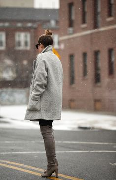 love the boots the coat the bun! Over The Knee Boots Trend: Helena Glazer is wearing boots from Stuart Weitzman Thigh High Boots, Over The Knee Boots, Nordstrom Boots, Highland Boots, Brooklyn Blonde, Fashion Books, Net Fashion, Street Fashion, Casual Street Style