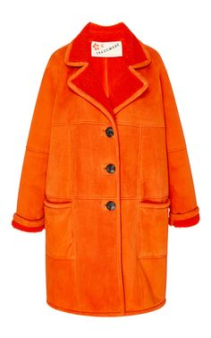 Red Shearling Long Coat by TRADEMARK for Preorder on Moda Operandi