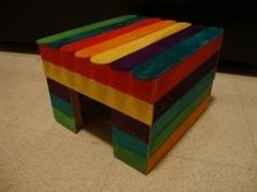 Cute little popsicle house for mice.