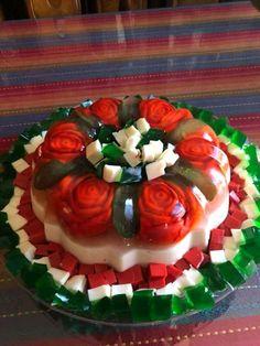Idea gelatina flores Jello Desserts, Pudding Desserts, No Bake Desserts, Gelatin Recipes, Jello Recipes, Best Christmas Recipes, Purple Cakes, Jelly Cake, Christmas Appetizers
