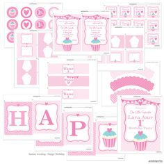 Cupcake Party Theme - Full Printable Collection - Cute Girls Birthday Party Decor and Invitation. $32.00, via Etsy.