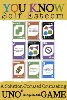 UNO Self-Esteem Game. Fun Solution Focused Counseling Intervention.