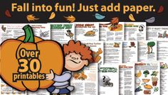 Art Thanksgiving Party Games Pack: over 30 printables for Fall Harvest and Thanksgiving fall-thanksgiving Classroom Halloween Party, Halloween Party Games, Halloween Crafts, Holiday Crafts, Holiday Fun, Halloween Activities, Holiday Ideas, Thanksgiving Projects, Thanksgiving Preschool