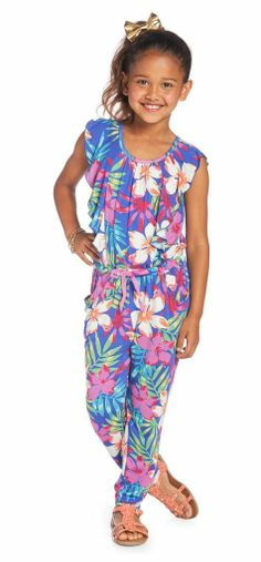 JUNGLE FASHIONISTA OUTFIT Sleeveless super soft palm print jumper. Ruffle sleeve details and two hidden pockets.