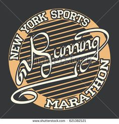 Athletic sport running typography, t-shirt graphics.  Print for sportswear apparel.