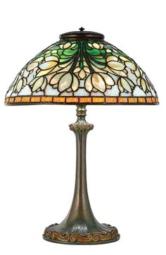 Tiffany Studios Parcel Gilt and Green Patinated-Bronze and Favrile Leaded Glass Tulip Cluster Lamp