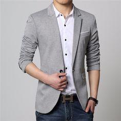 e9cf2a80b6a3 Blazer Masculino Cinza Slim Fit Top Mens Designer Blazers
