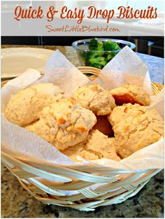Quick and Easy Drop Biscuits - No roll, no fuss biscuits from scratch,  perfect every time.   Tender, flaky....delicious!   | SweetLittleBluebird.com