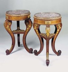 A PAIR OF GEORGE IV ORMOLU-MOUNTED ROSEWOOD TRIPOD JARDINIERES -  EARLY 19TH CENTURY
