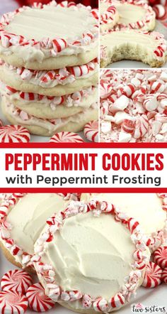 Are you looking for a yummy Peppermint Dessert? How about a batch of these homemade Peppermint Cookies with Peppermint Frosting? A buttery peppermint Mint Desserts, New Year's Desserts, Cookie Desserts, Holiday Desserts, Holiday Baking, Holiday Treats, Holiday Recipes, Christmas Recipes, Christmas Foods