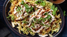 Chicken and noodle salad with spicy sesame dressing.
