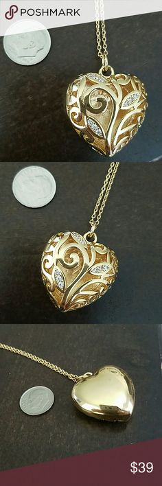 18K Gold Plated Heart Locket on chain Prettier than in photos! Open heart necklace with CZ accents. MSRP is over $300. Selling this one because the one I wanted is in rose gold rather than yellow gold in color. Your gain! Totally giftworthy!! Jewelry Necklaces