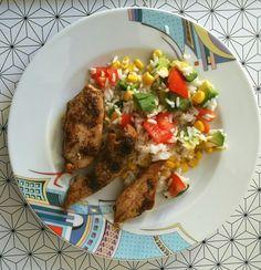 Szokásos csirkemell, rizs, zöldségek.