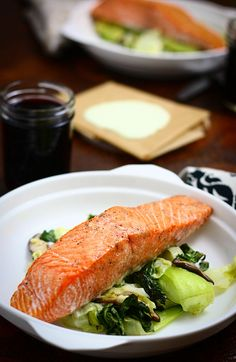 """Roasted Salmon with Ginger, Garlic, and Bok Choy:  Fantastic!  Everyone loved it, including the little man.  :)  Definitely one to keep on the """"favorites"""" list!"""