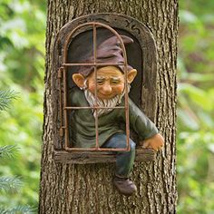 Fairy Doors On Trees, Fairy Tree Houses, Fairy Garden Doors, Fairy Garden Supplies, Fairy Garden Houses, Gnome Garden, Fairy Garden Ornaments, Funny Garden Gnomes, Diy Fairy Door