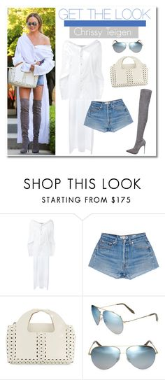 """Celeb Style: Chrissy Teigen"" by zhris ❤ liked on Polyvore featuring Esteban Cortazar and Victoria Beckham"