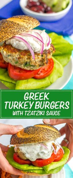 Greek turkey burgers with tzatziki sauce are loaded with spinach, red onion and feta cheese for a delicious but easy taste of Greece!   www.familyfoodonthetable.com