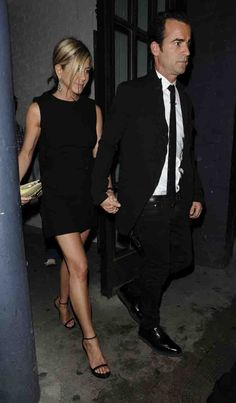 Jennifer Aniston and boyfriend Justin Theroux leaving the Shoreditch house in London