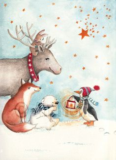 Nieuwjaarsbrief An Melis Illustration Inspiration, Cute Animal Illustration, Winter Illustration, Illustration Art, Noel Christmas, Christmas Animals, Christmas Toys, Winter Pictures, Cute Pictures