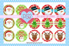 Christmas 1 Inch Bottle Cap Images - Digital Download - pinned by pin4etsy.com