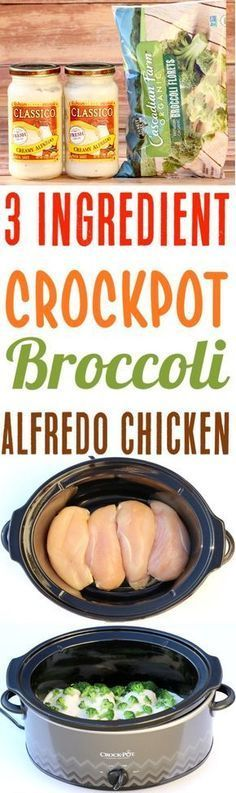 Crockpot Alfredo Chicken with Broccoli Recipe! This Easy Slow Cooker Dinner is perfect for busy weeknights... just 3 Ingredients! Add it to your menu this week for a new family favorite!