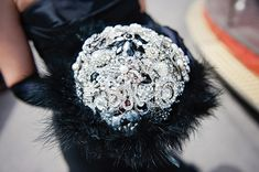 Stunning vintage broach bouquet for this vow renewal in Paris, France. Photography by rochellecheever.com