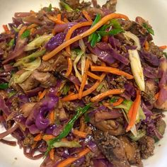 Finally made the infamous #crackslaw and it was very good!! Ground beef shredded purple cabbage shiitake shredded carrots scallions ginger garlic soy sauce Chinese cooking wine sesame oil white pepper black pepper white vinegar and sriracha.  Loved it and will definitely be making again!! I think next time I'm going to put in cilantro just to brighten up the flavor a bit.  #lowcarb #health #food #foodporn #dinner #healthyeats #eatclean #cleaneating #eatrealfood #lowcarbhighfat #keto…