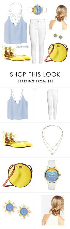 """""""Blue and yellow #7"""" by daddygwrlgfv on Polyvore featuring moda, MANGO, H&M, Aquazzura, Michael Kors, Dolce&Gabbana, Kate Spade, Elizabeth Locke, ASOS y yellow"""