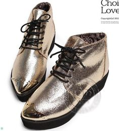 Women's Retro High Rise Sneakers Metallic Pointy Toe Platform Shoes Pumps Preppy | eBay
