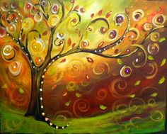 "Original Modern Fall Swirly Tree Whimsical Acrylic Painting -16""x20""inches by Kathleen Fenton"