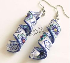 polymer clay jewelry | Polymer Clay Dangle Earring, Twist ribbon shape, flower pattern, with ...