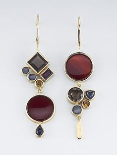 Omg! Please tell me where I can find these gorgeous... Janis Kerman | Yellow gold, carnelian, smokey quartz, boulder opal, citrine, garnet & iolite