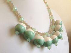 African Ceramic Bead Statement Necklace (Mint) >> Clay Bead Necklace, Swarovski Necklace, Crystal Necklace, Bib, Mint Green Necklace, Opal on Etsy, $62.00 #handmade #jewelry #mint #green #pastel #necklace #spring #easter #sunday #brunch #statement #swarovski #crystal #ceramic @Etsy #5one7designs www.5one7designs.etsy.com