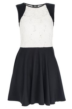 Black And Cream Lace Top Skater Dress