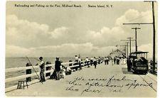 Midland Beach Staten Island NY -RAILROAD & FISHING PIER- Postcard