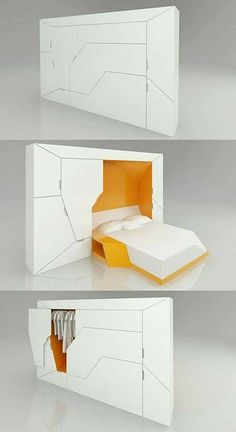 20 Exceptional Furniture Designs For Your Inspiration - Hongkiat - Boxetti Private by Rolands Landsbergs. A modular bedroom that includes a double bed, a bedside tabl - Compact Furniture, Smart Furniture, Modular Furniture, Space Saving Furniture, Unique Furniture, Furniture Design, Contemporary Furniture, Bedroom Furniture, Nomadic Furniture